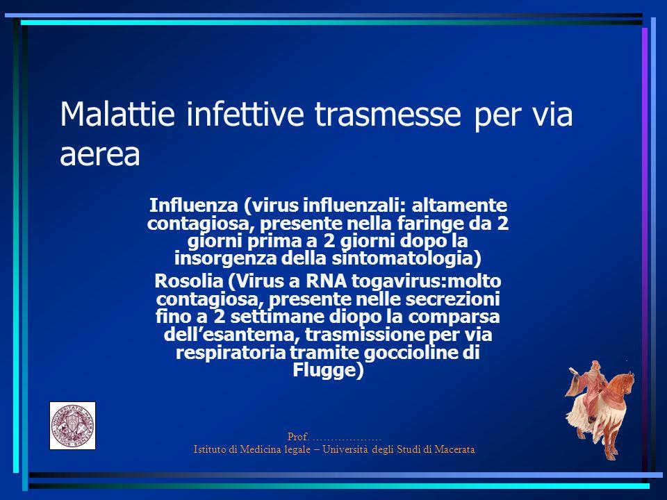 Malattie infettive trasmesse per via aerea