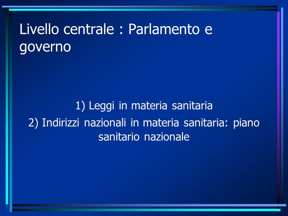 Livello centrale : Parlamento e governo