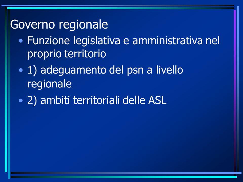 Governo regionale Funzione legislativa e amministrativa nel proprio territorio. 1) adeguamento del psn a livello regionale.
