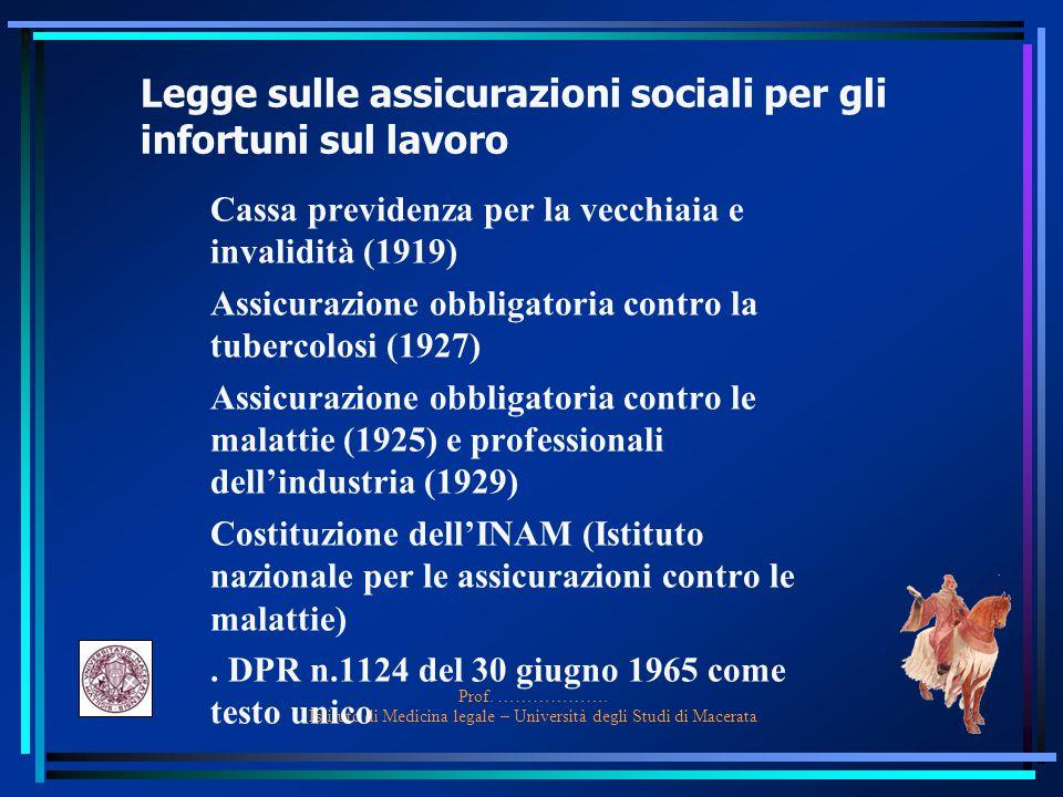 Legge sulle assicurazioni sociali per gli infortuni sul lavoro