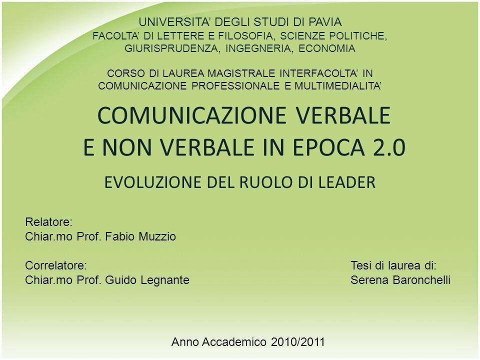 COMUNICAZIONE VERBALE E NON VERBALE IN EPOCA 2.0