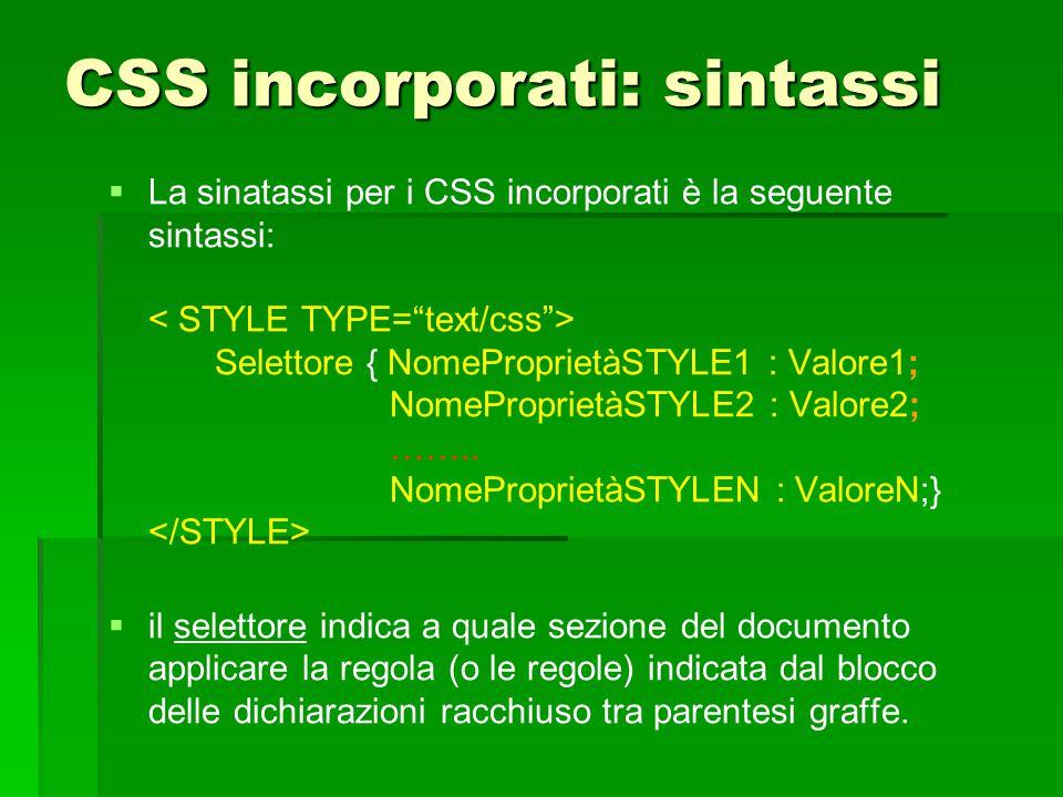 CSS incorporati: sintassi