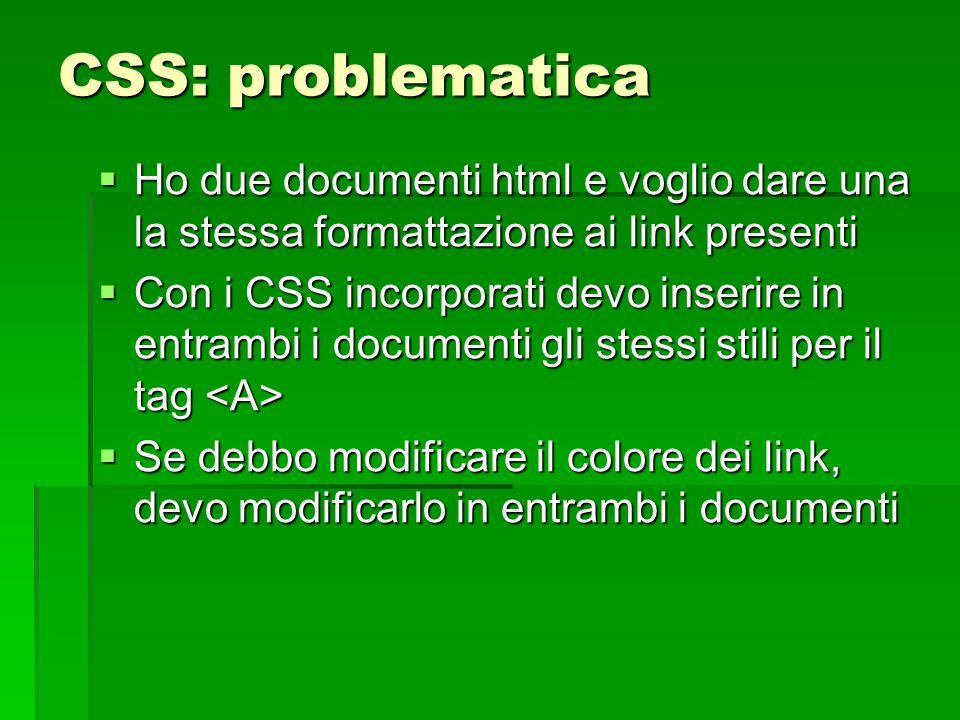 CSS: problematica Ho due documenti html e voglio dare una la stessa formattazione ai link presenti.