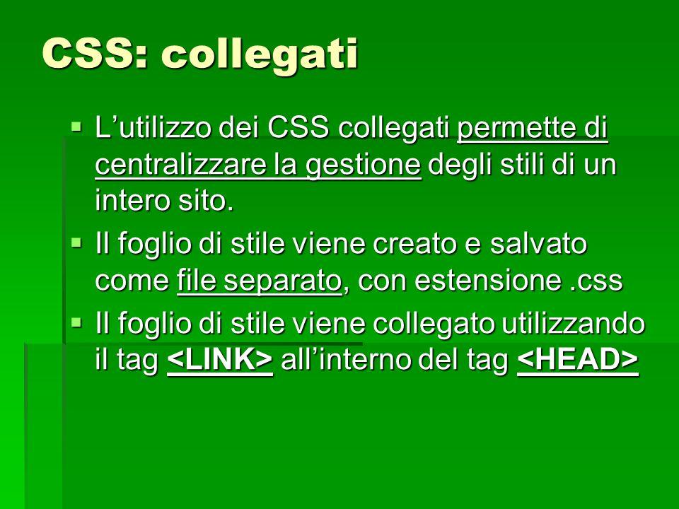 CSS: collegati L'utilizzo dei CSS collegati permette di centralizzare la gestione degli stili di un intero sito.