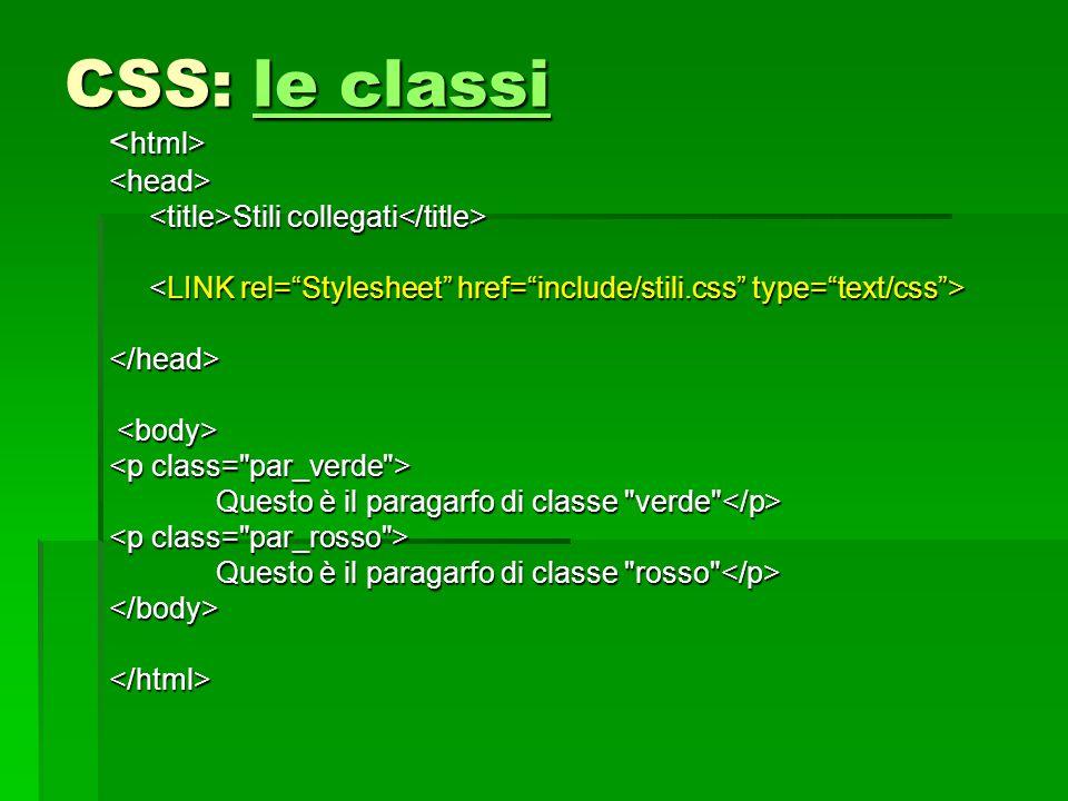 CSS: le classi <html> <head>