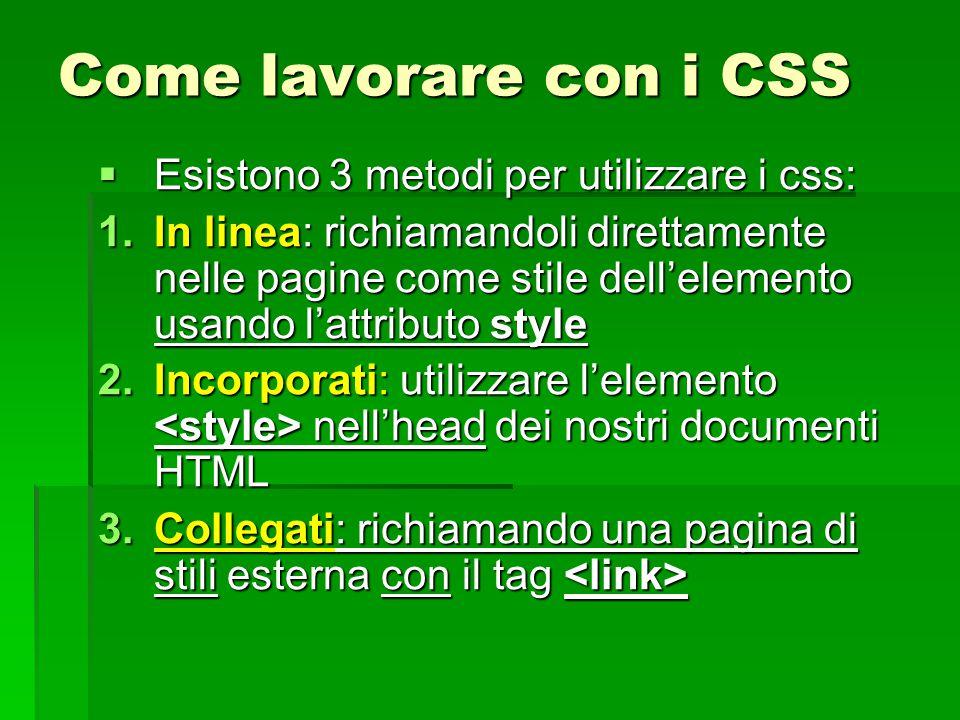 Come lavorare con i CSS Esistono 3 metodi per utilizzare i css:
