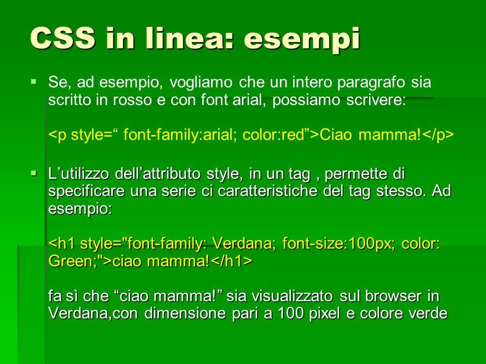 CSS in linea: esempi