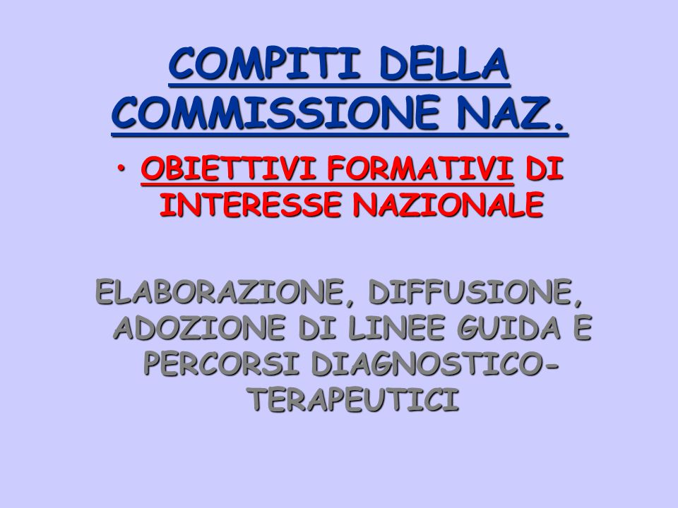 COMPITI DELLA COMMISSIONE NAZ.