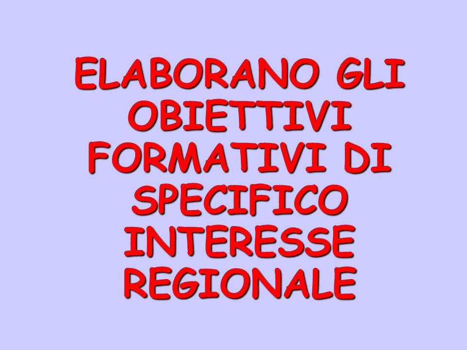 ELABORANO GLI OBIETTIVI FORMATIVI DI SPECIFICO INTERESSE REGIONALE