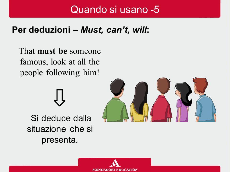 ⇩ Quando si usano -5 Per deduzioni – Must, can't, will: