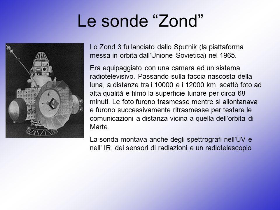 Le sonde Zond Lo Zond 3 fu lanciato dallo Sputnik (la piattaforma messa in orbita dall'Unione Sovietica) nel 1965.