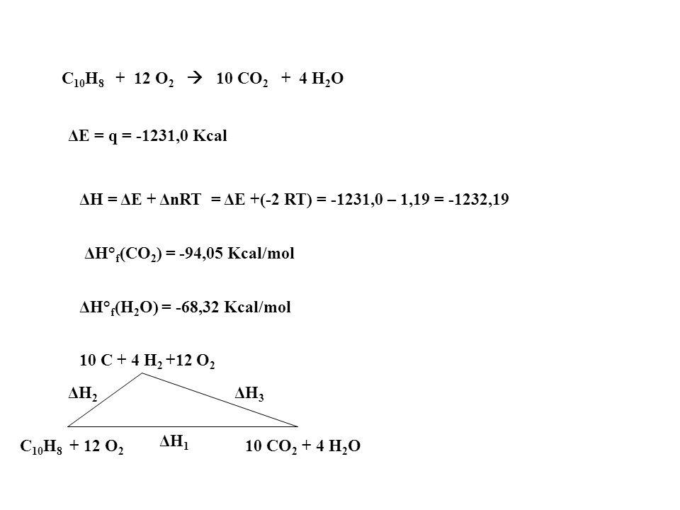 C10H8 + 12 O2  10 CO2 + 4 H2O ΔE = q = -1231,0 Kcal. ΔH = ΔE + ΔnRT = ΔE +(-2 RT) = -1231,0 – 1,19 = -1232,19.