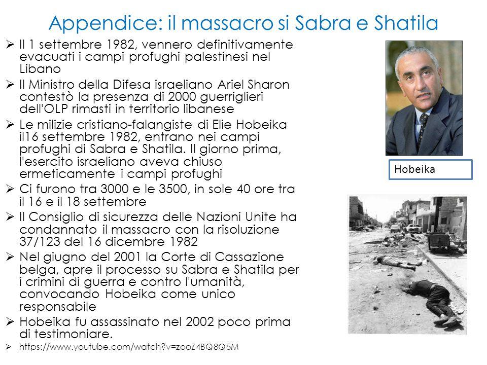 Appendice: il massacro si Sabra e Shatila