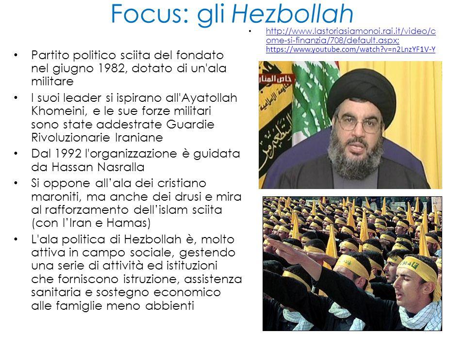 Focus: gli Hezbollah http://www.lastoriasiamonoi.rai.it/video/come-si-finanzia/708/default.aspx; https://www.youtube.com/watch v=n2LnzYF1V-Y.