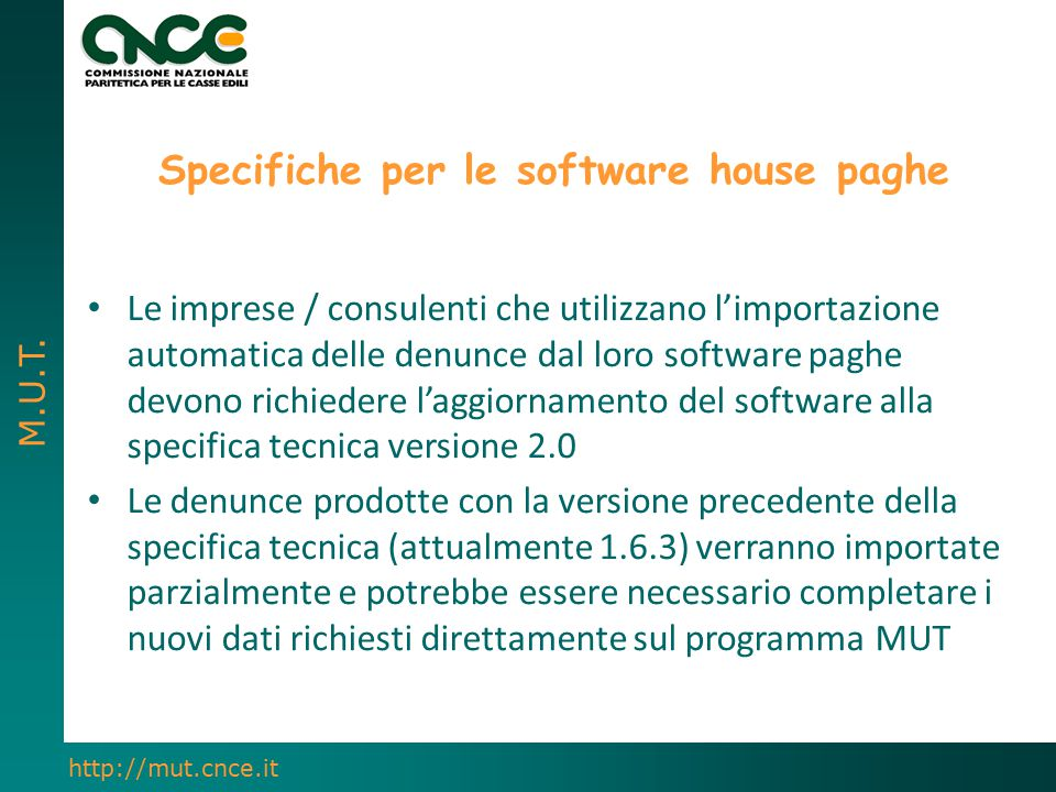 Specifiche per le software house paghe