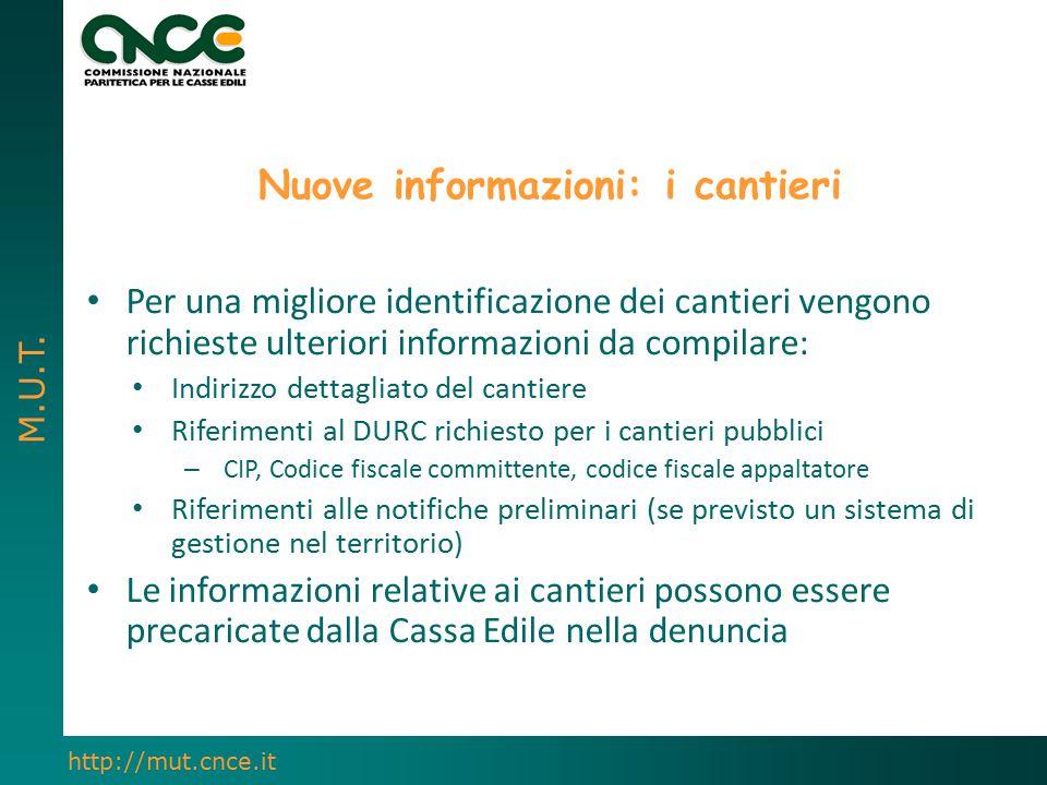 Nuove informazioni: i cantieri