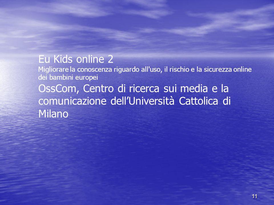 Eu Kids online 2 Migliorare la conoscenza riguardo all uso, il rischio e la sicurezza online dei bambini europei.
