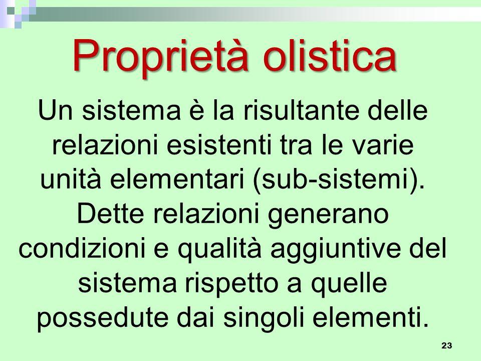 Proprietà olistica Un sistema è la risultante delle relazioni esistenti tra le varie unità elementari (sub-sistemi).