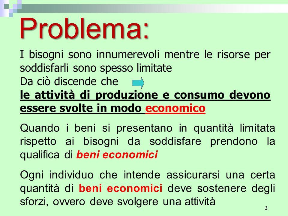 Problema: I bisogni sono innumerevoli mentre le risorse per soddisfarli sono spesso limitate. Da ciò discende che.