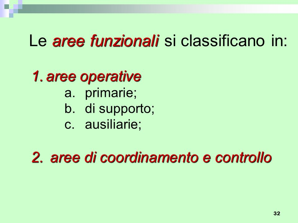 Le aree funzionali si classificano in: