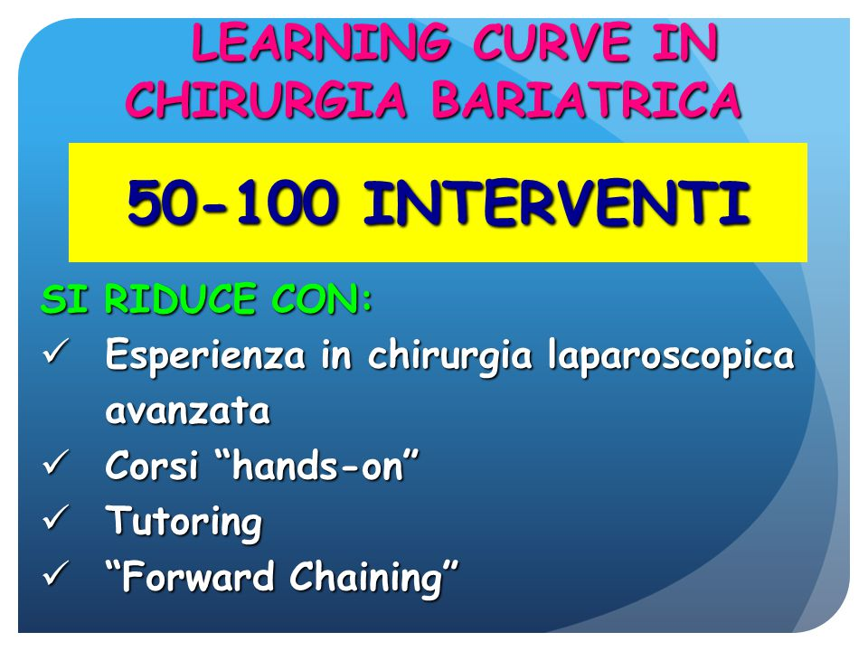 LEARNING CURVE IN CHIRURGIA BARIATRICA