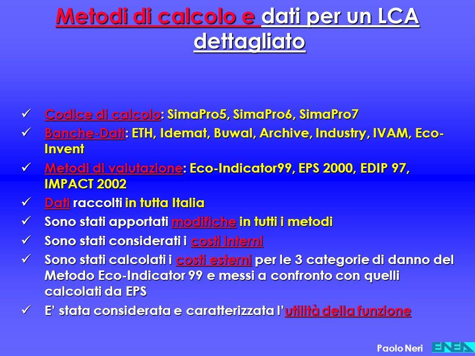 Metodi di calcolo e dati per un LCA dettagliato
