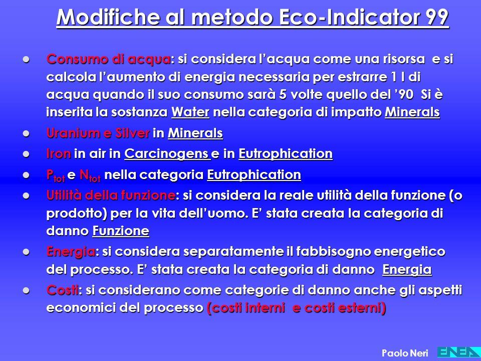 Modifiche al metodo Eco-Indicator 99
