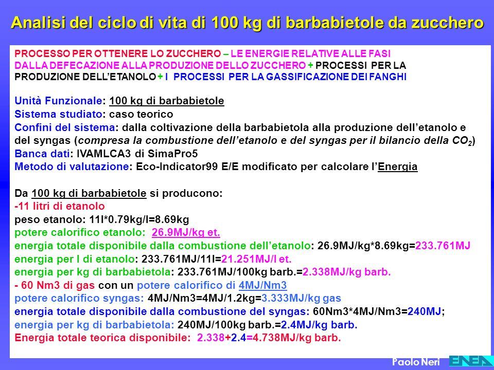 Analisi del ciclo di vita di 100 kg di barbabietole da zucchero