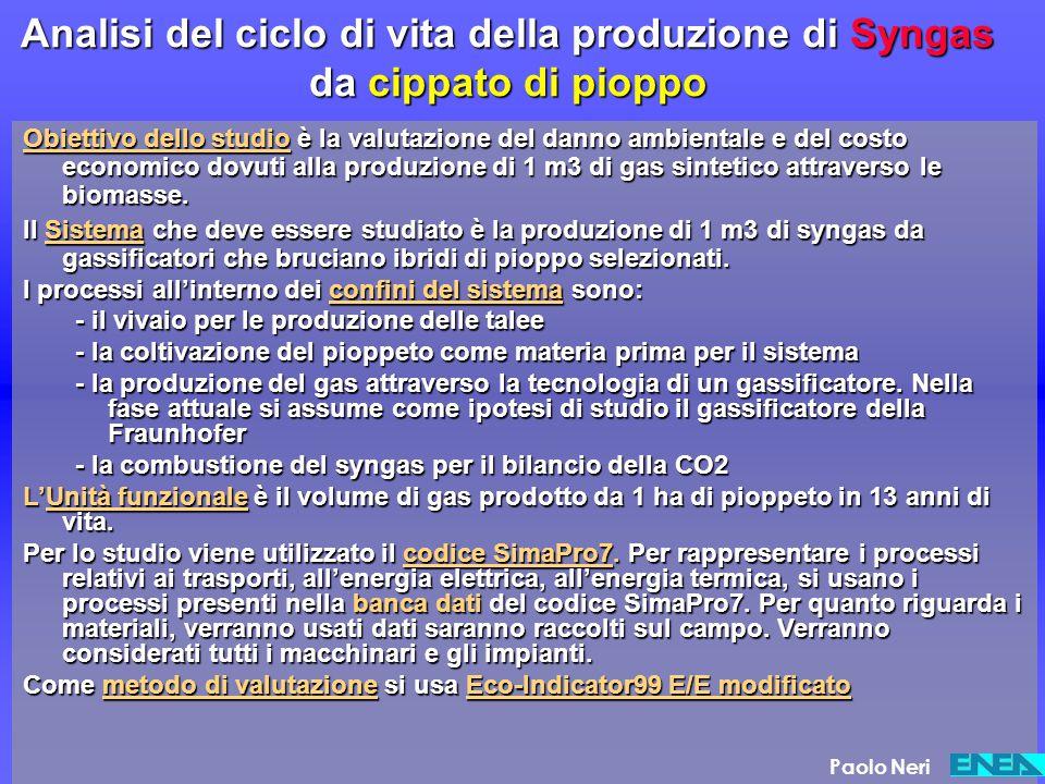 Analisi del ciclo di vita della produzione di Syngas da cippato di pioppo