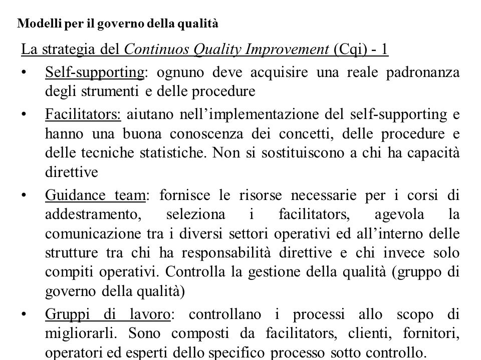 La strategia del Continuos Quality Improvement (Cqi) - 1