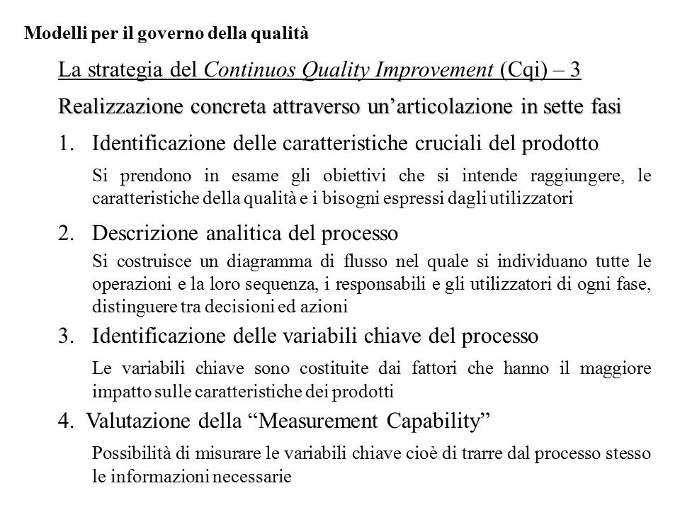 La strategia del Continuos Quality Improvement (Cqi) – 3