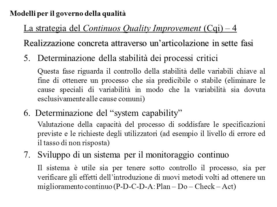 La strategia del Continuos Quality Improvement (Cqi) – 4