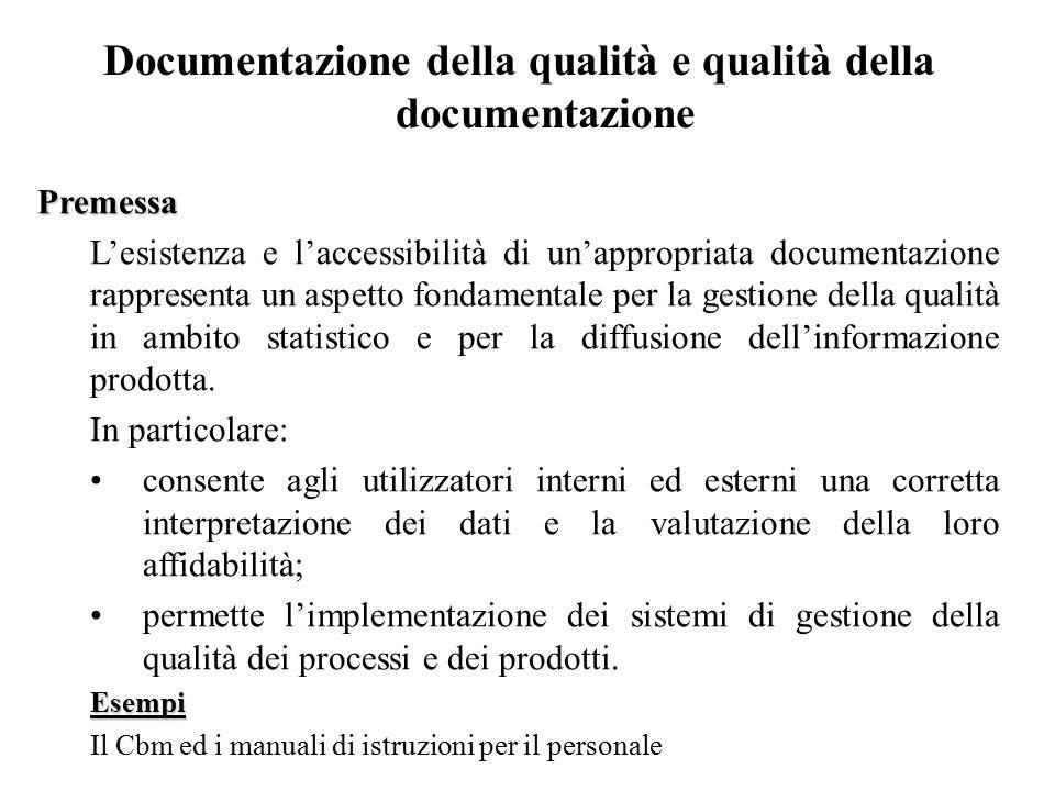Documentazione della qualità e qualità della documentazione