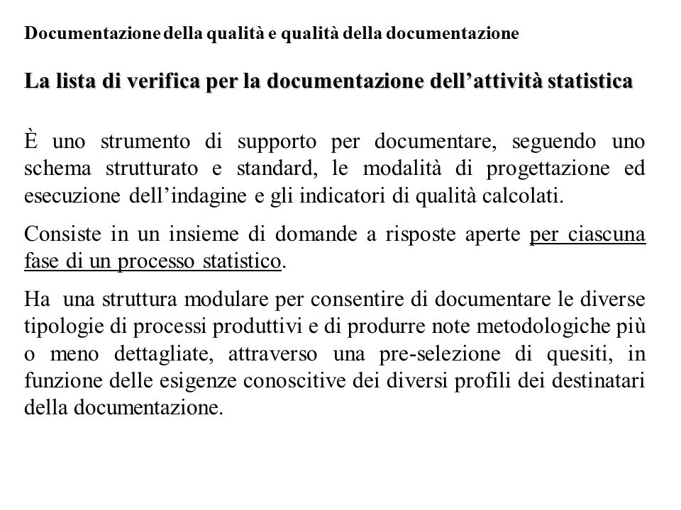 La lista di verifica per la documentazione dell'attività statistica