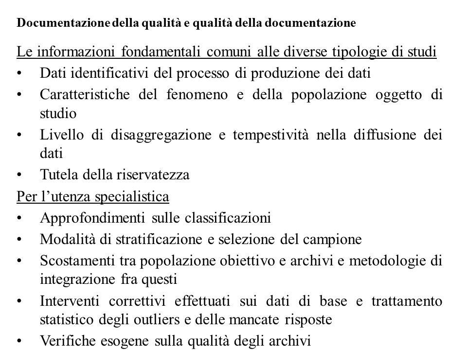 Le informazioni fondamentali comuni alle diverse tipologie di studi
