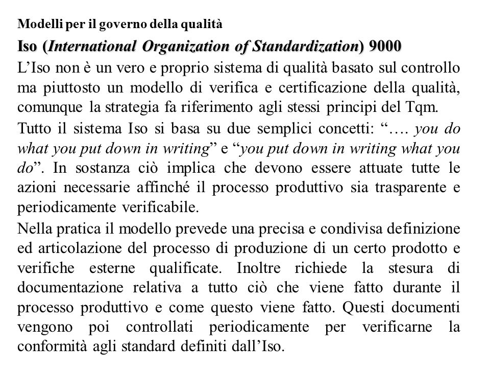 Iso (International Organization of Standardization) 9000