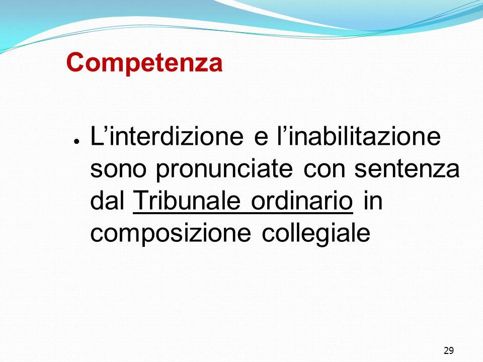 Competenza L'interdizione e l'inabilitazione sono pronunciate con sentenza dal Tribunale ordinario in composizione collegiale.