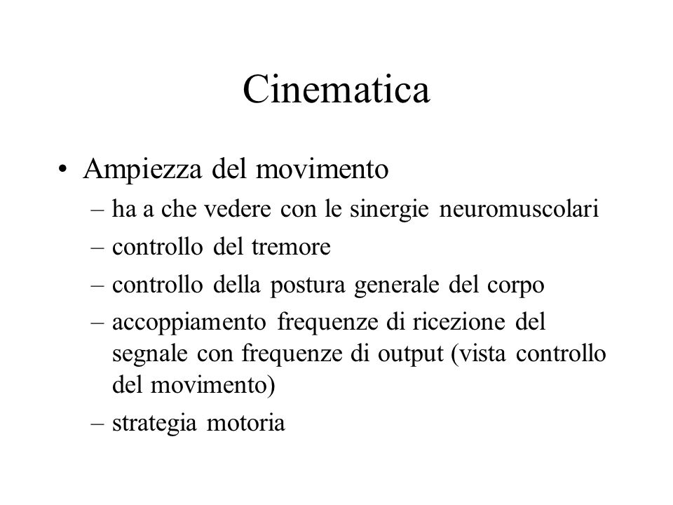 Cinematica Ampiezza del movimento