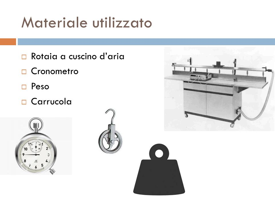 Materiale utilizzato Rotaia a cuscino d'aria Cronometro Peso Carrucola