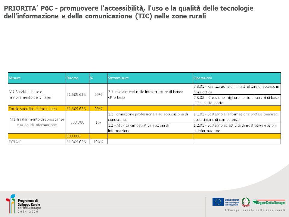 PRIORITA' P6C - promuovere l accessibilità, l uso e la qualità delle tecnologie dell informazione e della comunicazione (TIC) nelle zone rurali