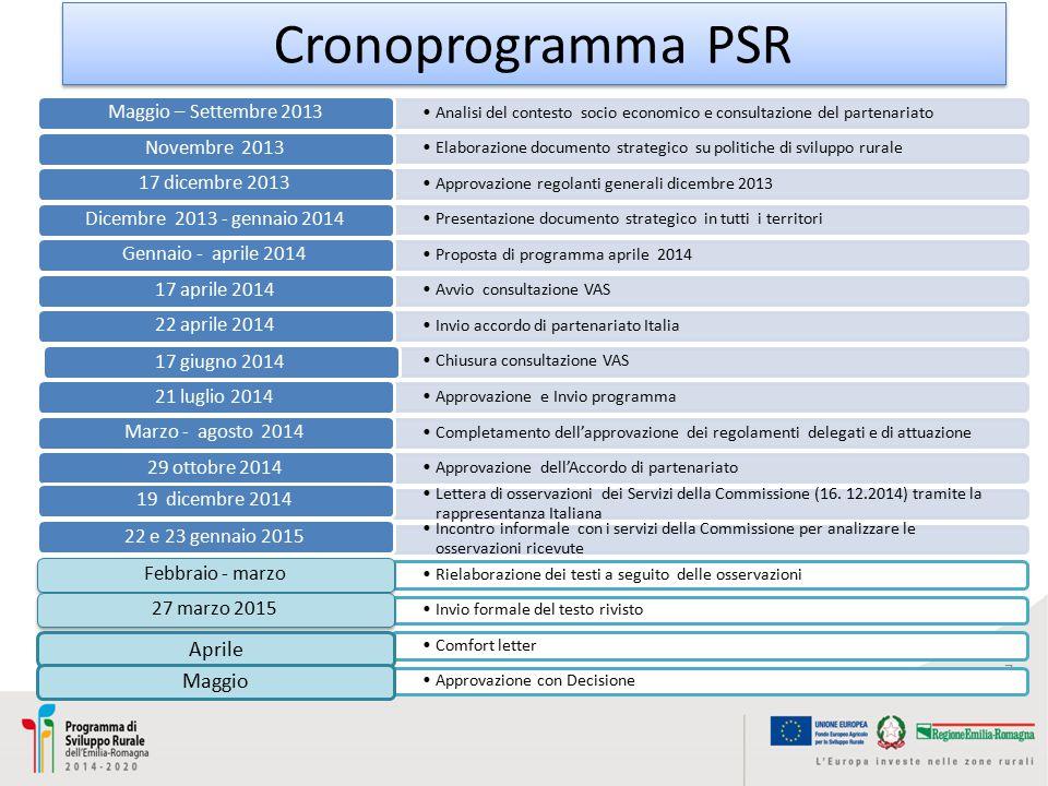 Cronoprogramma PSR Aprile Maggio Maggio – Settembre 2013 Novembre 2013
