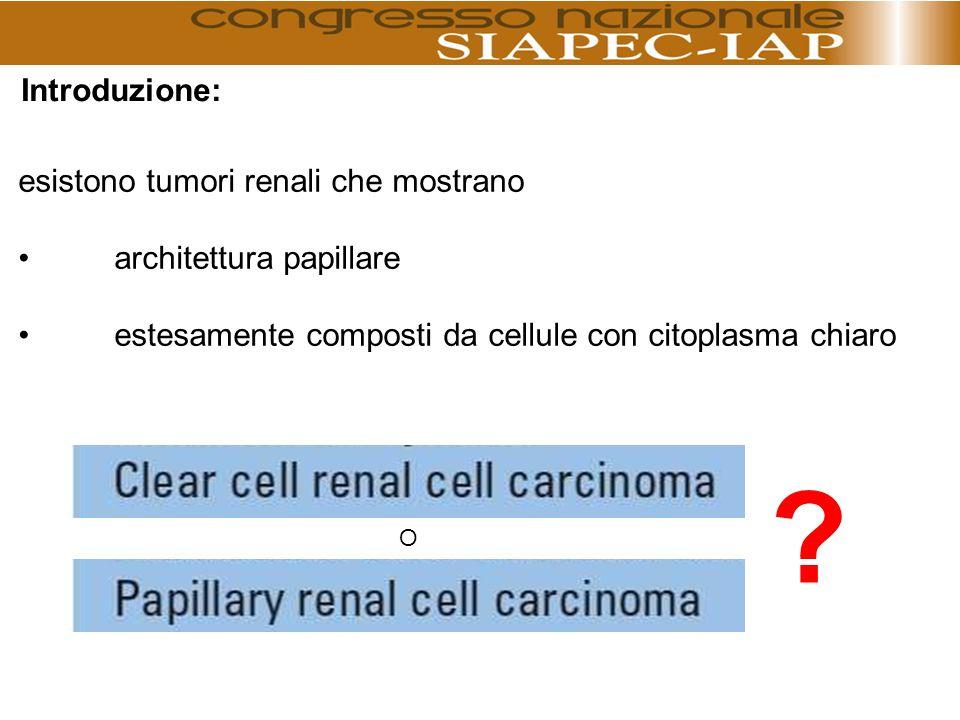 Introduzione: esistono tumori renali che mostrano