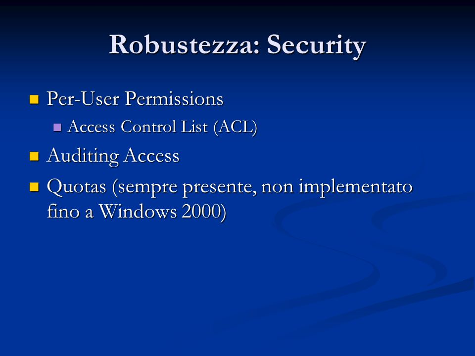 Robustezza: Security Per-User Permissions Auditing Access