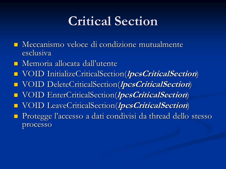 Critical Section Meccanismo veloce di condizione mutualmente esclusiva