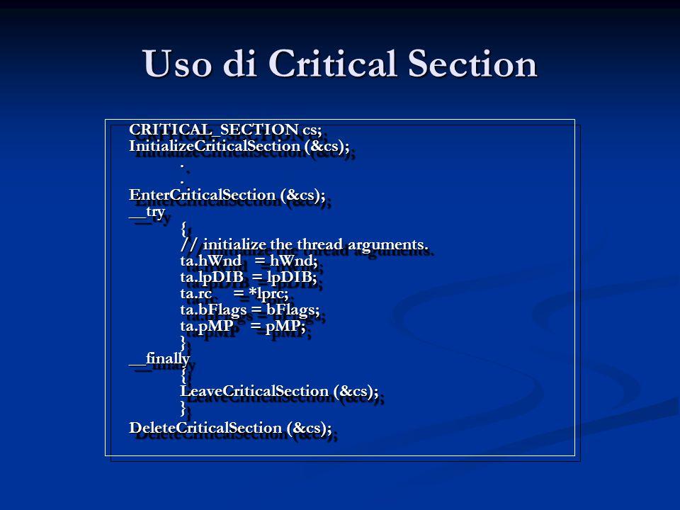 Uso di Critical Section