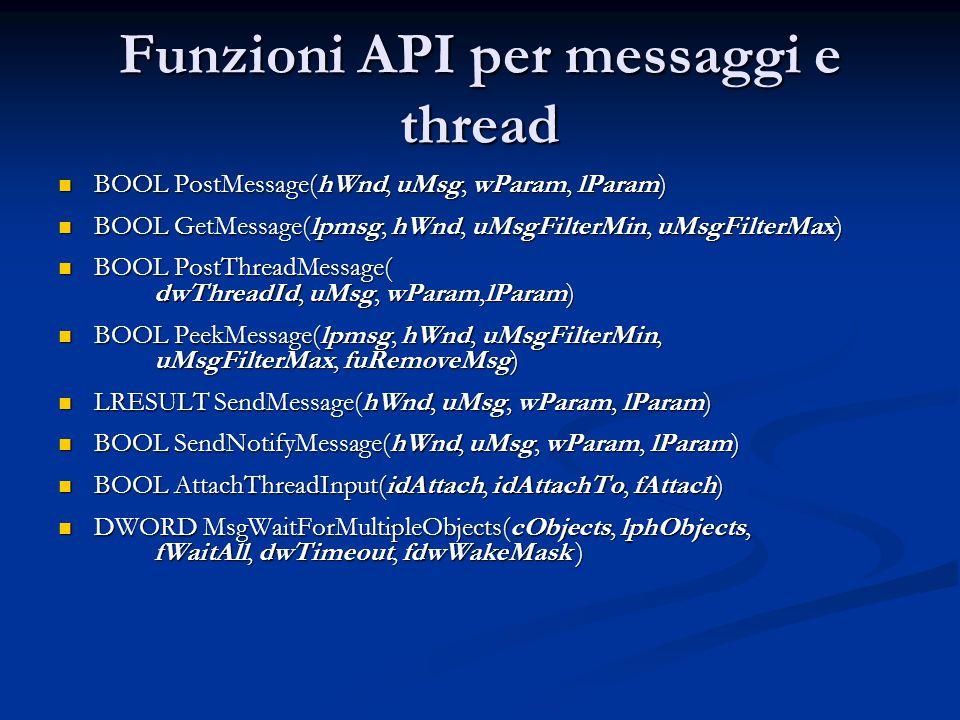 Funzioni API per messaggi e thread