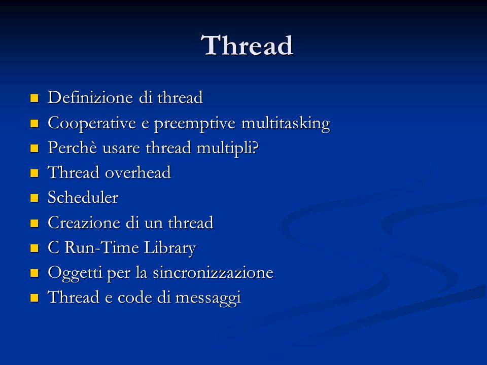 Thread Definizione di thread Cooperative e preemptive multitasking