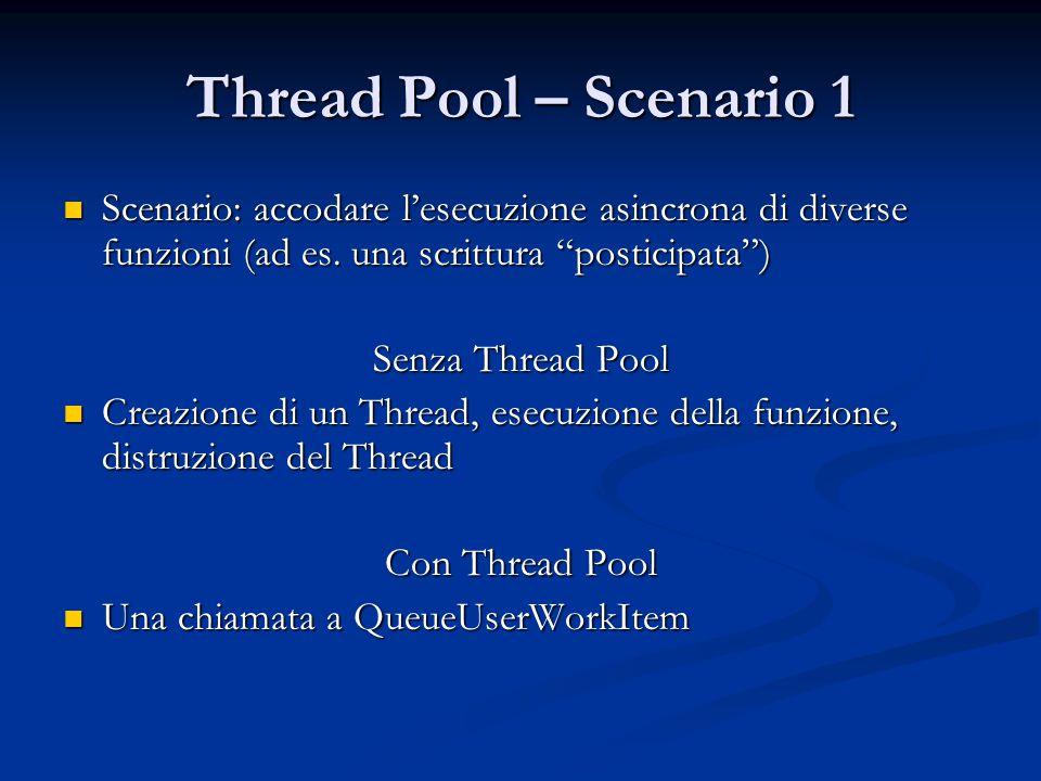 Thread Pool – Scenario 1 Scenario: accodare l'esecuzione asincrona di diverse funzioni (ad es. una scrittura posticipata )