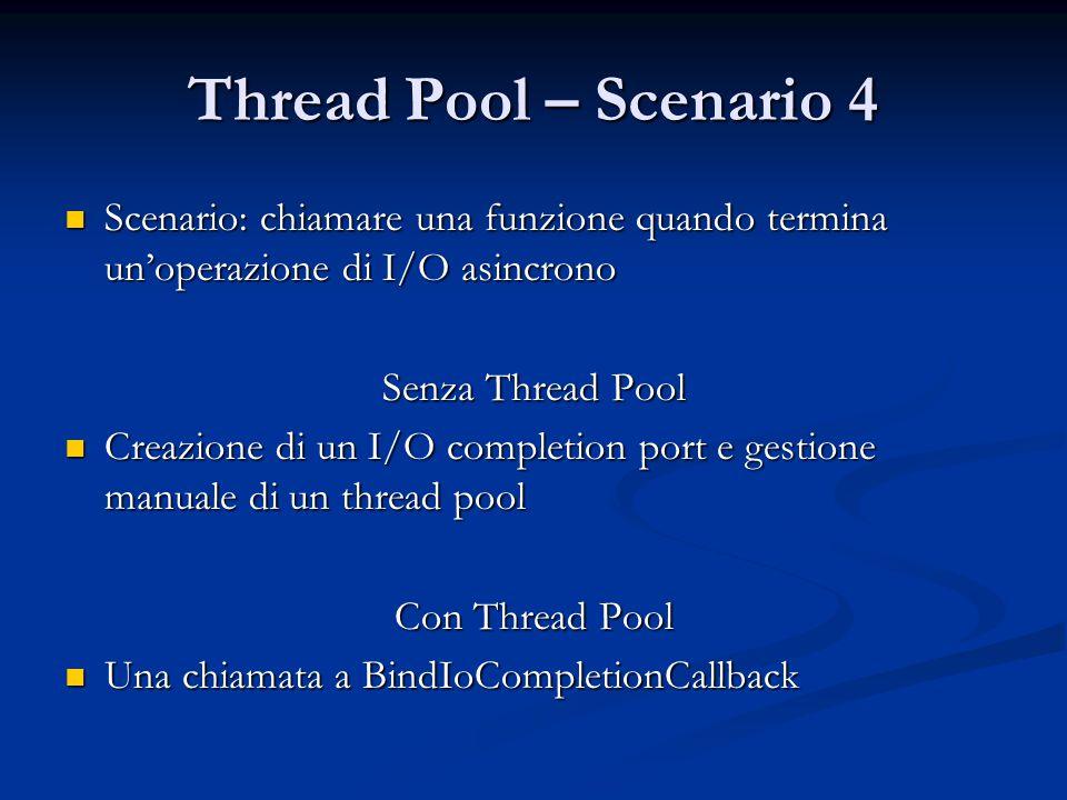Thread Pool – Scenario 4 Scenario: chiamare una funzione quando termina un'operazione di I/O asincrono.