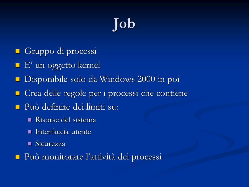 Job Gruppo di processi E' un oggetto kernel